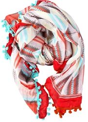 Pia Rossini Red Astro Printed Pattern Scarf