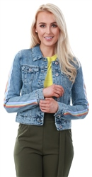 Only Blue Denim Tape Sleeve Denim Jacket