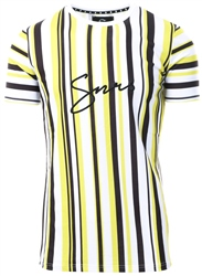 Sinners Attire White/Yellow Script Stripe Short Sleeve Tee