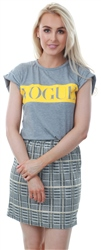 Parisian Grey Roll Up Sleeve Vogue Print T-Shirt