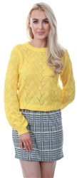 Veromoda Yellow Balloon Sleeved Knitted Pullover