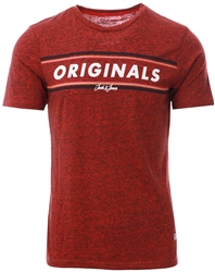 Jack & Jones Fiery Red Tuco Crew S/Sleeve T-Shirt