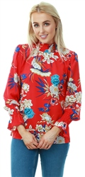 Ax Paris Red Floral High Neck Frill Sleeve Top