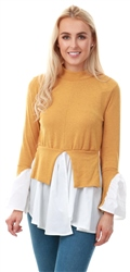 Ax Paris Mustard Polo Neck Shirt Jumper