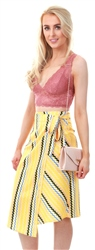 Miss Truth Yellow Pattern Wrapped Midi Skirt