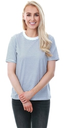 Pieces Bright White / Maritime Blue Ria Stripe Top