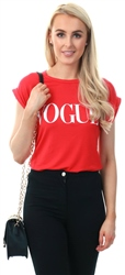 Parisian Red Roll Up Sleeve Vogue T-Shirt