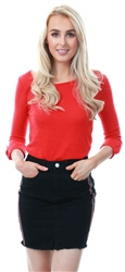 Only High Risk Red Loose 3/4 Sleeve Crew Top