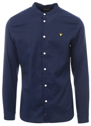 Lyle & Scott Navy Grandad Collar Long Sleeve Shirt
