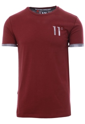 11degrees Burgandy Check Mesh Logo T-Shirt