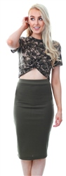 Missi Lond Khaki / Green Pencil Bodycon Skirt
