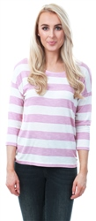 Veromoda Snow White / Foxglove 3/4 Sleeve Stripe Top