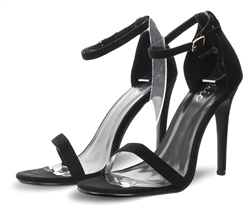 No Doubt Black Suede Ankle Strap Shoe