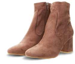 No Doubt Mocha Suede Sock Boot Heeled Shoe
