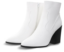 Truffle White Betty Pointed Toe Heeled Boot