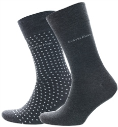 Calvin Klein Graphite 2 Pack Crew Dot Socks
