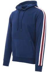 Threadbare Navy Punta Side Tape Pull Over Hoodie