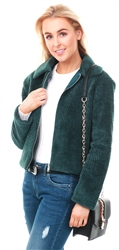 Jdy Green / Pine Textured Teddy Jacket
