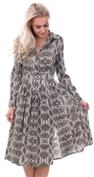 Influence Brown Snake Print Midi Split Dress