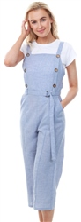 Qed Chambery Blue Button Detail Cullotte Jumpsuit