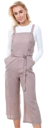 Qed Mocha Brown Button Detail Cullotte Jumpsuit
