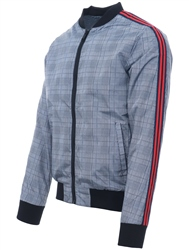 Brave Soul Grey Check Checked Bomber Jacket
