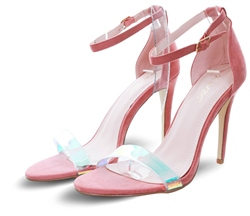 No Doubt Rose Pink Perspex Halo Strap Heel