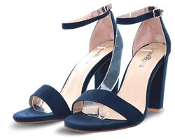 No Doubt Blue Barely There Block Heeled Shoe