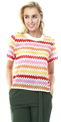 Qed Multi Leaf Crochet Mesh Short Sleeve Top
