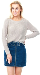 Only Taupe Genna Knit Long Sleeve Jumper