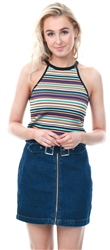 Qed Lilac Stripe Halter Neck Ribbed Top