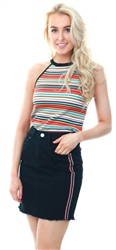 Qed Orange Stripe Halter Neck Ribbed Top