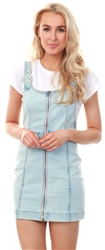 Momokrom Denim Lightwash Zip Up Pinafore Dress