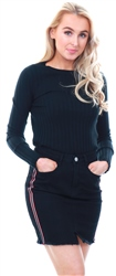 Qed Black Rib Knitted Crew Fitted Jumper
