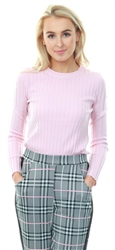 Qed Pink Rib Knitted Crew Fitted Jumper