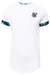 Siksilk White Short Rolled Sleeve Scoop Tee