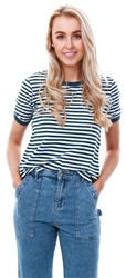 Brave Soul White/Navy Stripe Pattern Ringer T-Shirt