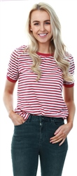 Brave Soul White/Red Stripe Pattern Ringer T-Shirt