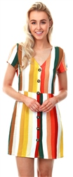 Glamorous Khaki / Red / Yellow Stripe Button Dress