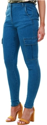 Parisian Denim Cargo High Waist Skinny Jeans