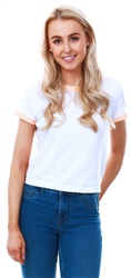 Brave Soul White/Peach Ringer Short Sleeve T-Shirt