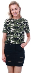 Pieces Green/Khaki/Black Camo Pattern T-Shirt