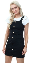 Missi Lond Black Button Mini Pinafore Dress