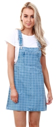 Urban Bliss Mid Blue Denim Grid Print Pinafore Dress