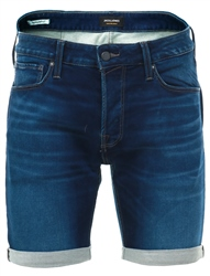 Jack & Jones Blue Indigo Knit Denim Shorts