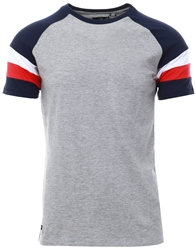 Threadbare Grey Dexter Colour Block T-Shirt