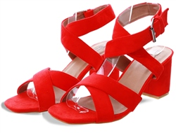 No Doubt Red Low Block Heel Shoe