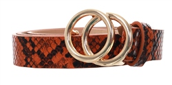 Pieces Cognac Karren Snake Print Belt