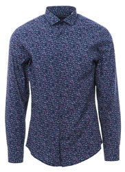 Jack & Jones Navy Blazer/ Slim Fit Patterned Shirt