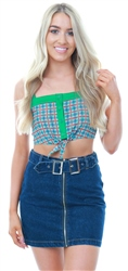 Glamorous Green Rust Grid Print Buttoned Crop Top
